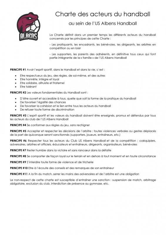 Charte du club